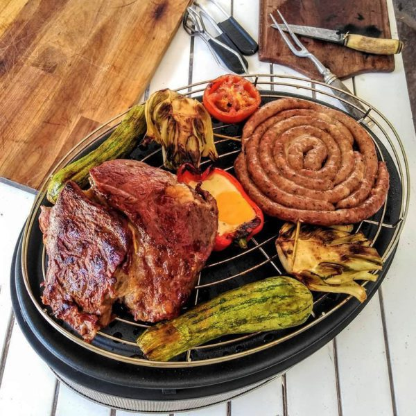 Various meats and veggies on COBB roast rack